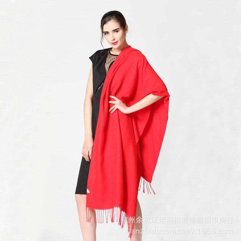 Thick Imitation Cashmere Fringed Scarf for Winter
