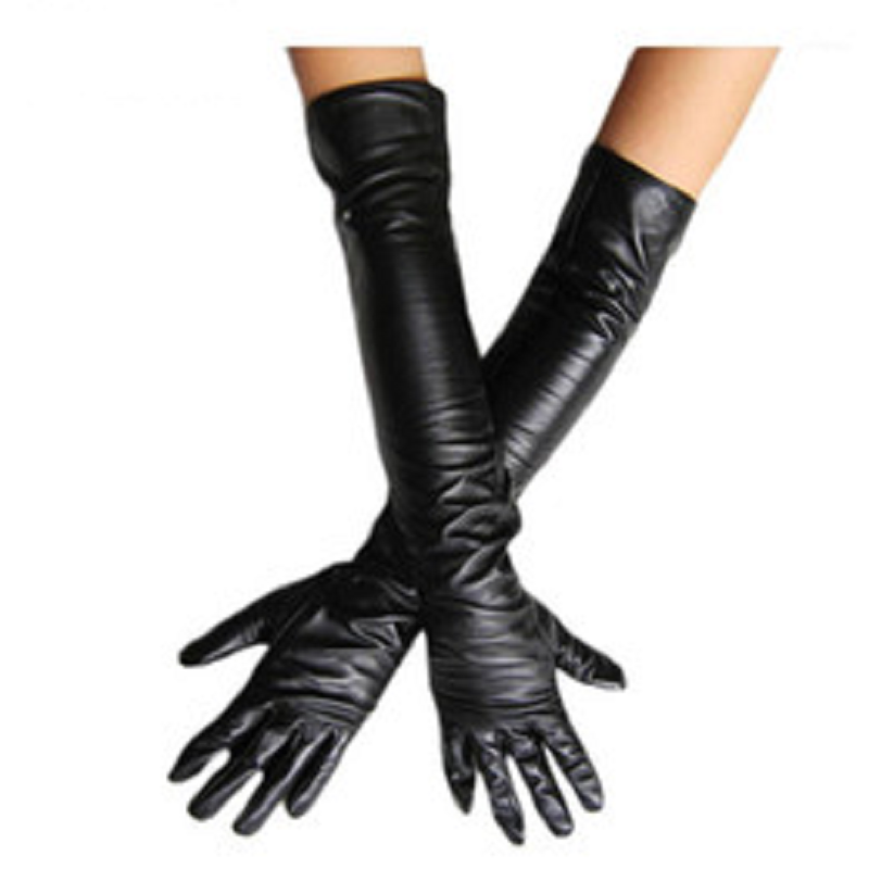 Long SLeek PU Leather Ladies Gloves for UV Protection