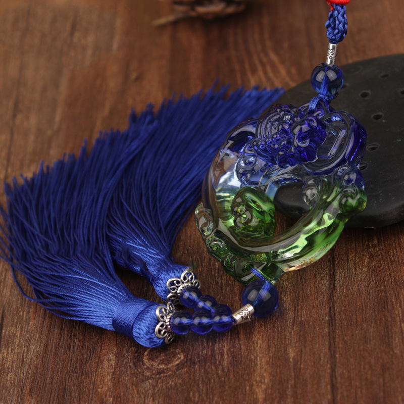 Creative Glass Mirror Charm with Tassel for Car Decoration