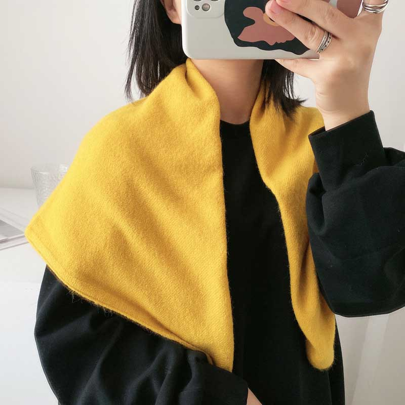 Solid Color Knitted Scarf for Winter
