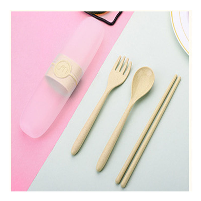 Eco-Friendly Wheat Straw Portable Tableware Set for Dining