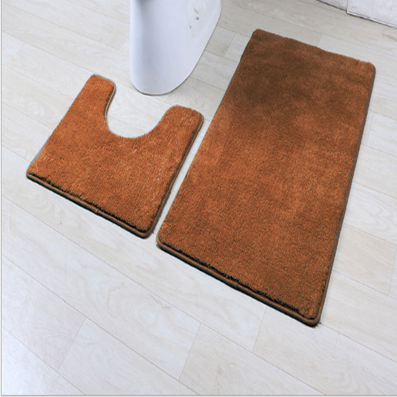 Solid Color 2-Piece Bathroom Mat for Guest Room