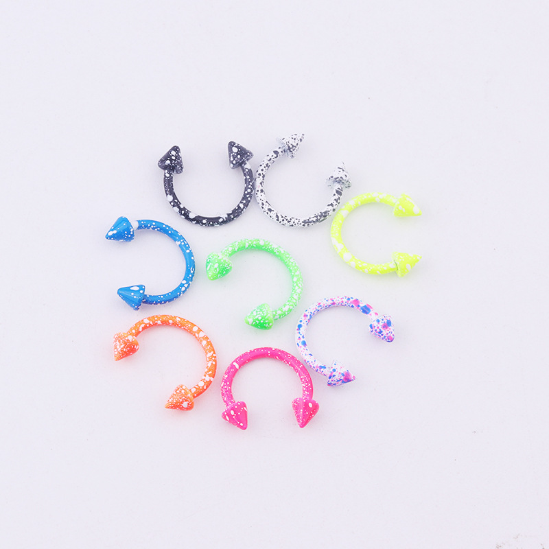 Candy Marble Colored 8-Piece Pointed Circular Barbell for Body Piercings