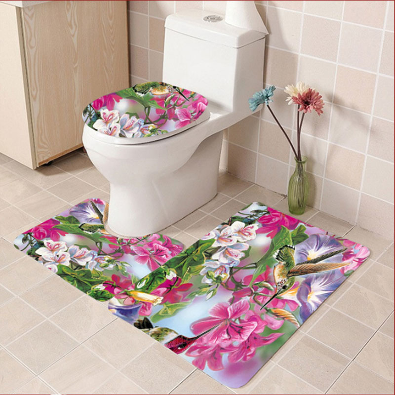 Digitally Printed Floral 3-Piece Bathroom Mat for Everyday Use