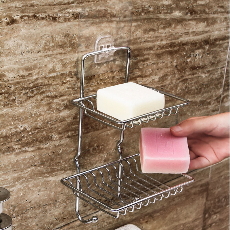 2-Tiered Stainless Steel Wall-Mounted Soap Rack for Modern Bathrooms