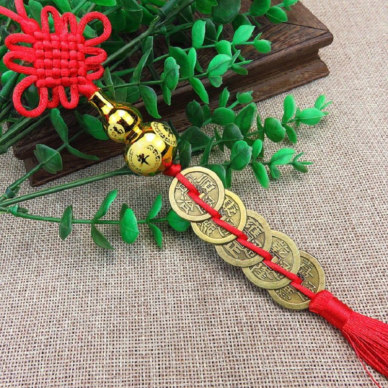 Five Copper Coins and Chinese Knot Interior Car Hanging Decoration