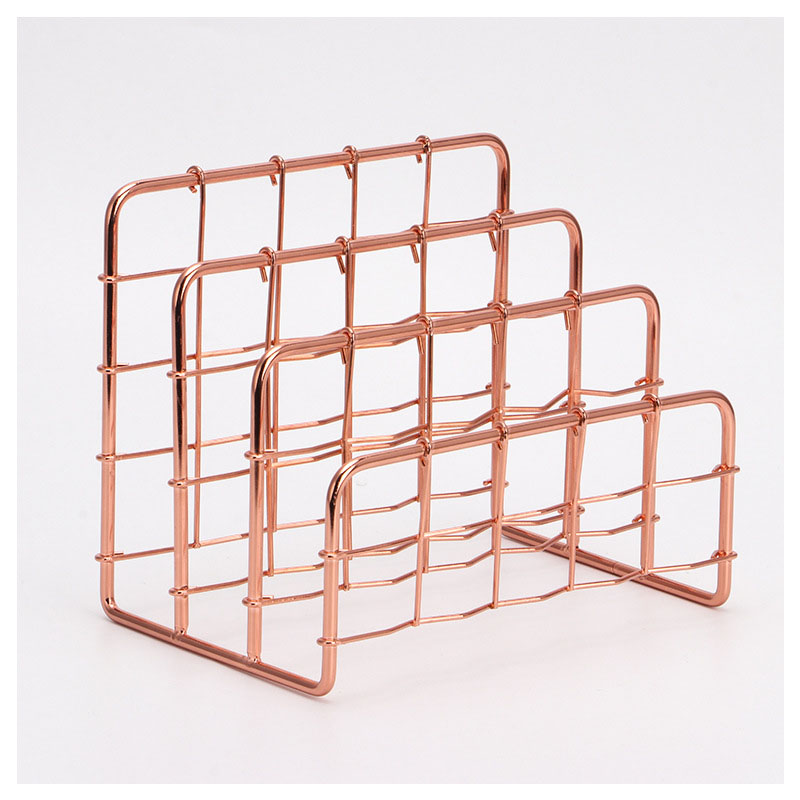 Modern Wire Rose Gold File Rack for Sorting Documents