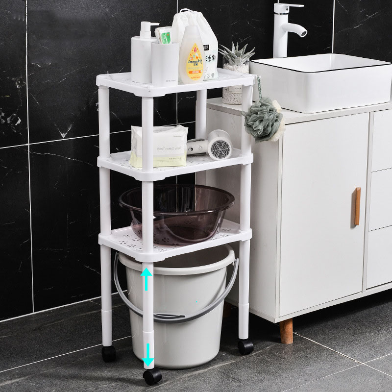 Sturdy Multi-layered Moveable Rack for Bath Toiletries