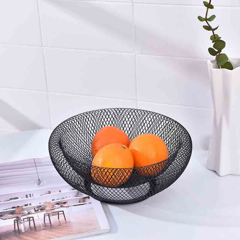 Modern Double Wrought Iron Fruit Basket for Kitchen