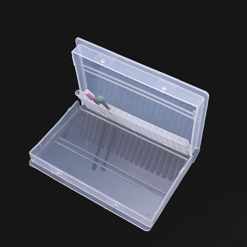 Transparent Rectangle Storage Box for Nail Grinding Tools