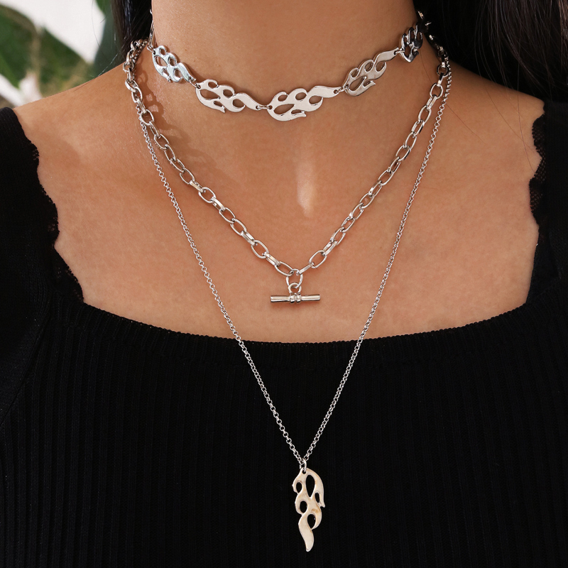 Fiery Decorative Multilayer Necklace for Punk Styles