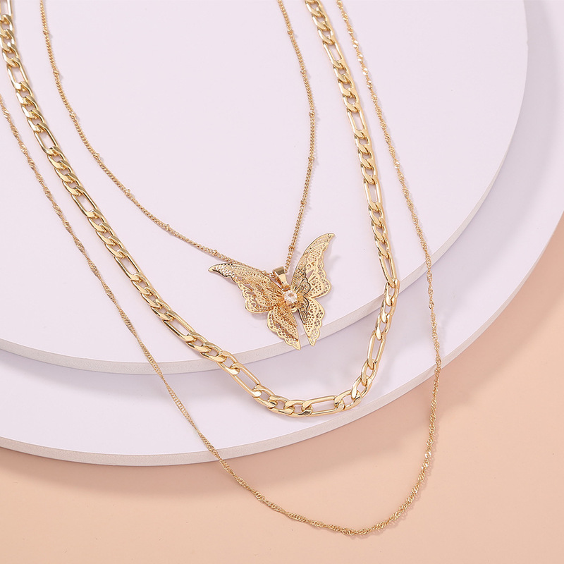Great Golden Butterfly Multilayer Necklace for Exaggerated Statement Outfits