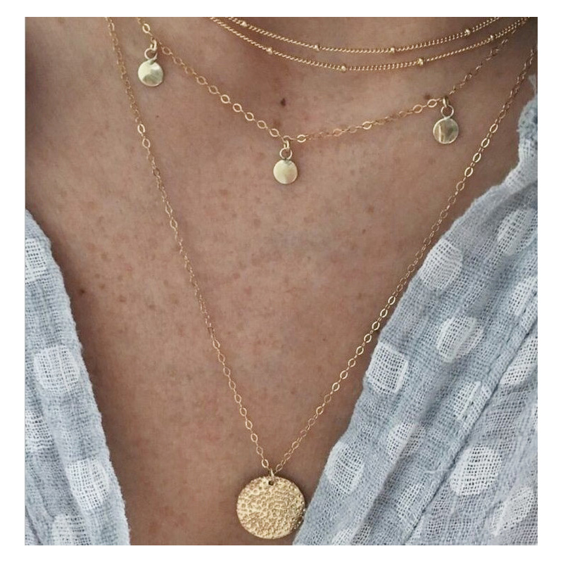 Golden Coins Multilayer Necklace for Creative Outfits