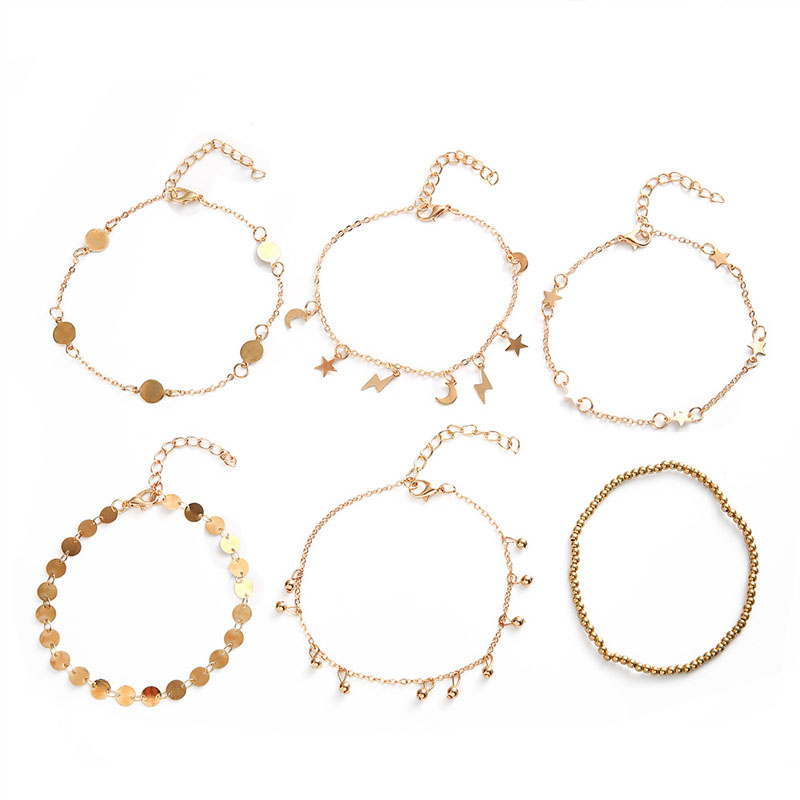 Charming Golden Trinkets and Shapes Anklet Set for Minimalist Wear and Layering