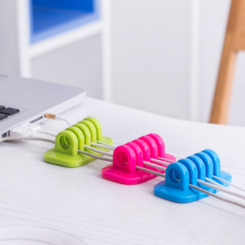 Mini Self-Adhesive 4-Slot Cable Organizer for Data Cable