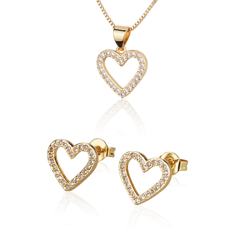 Fancy Zircon Heart Jewelry Collection for Mother's Day Presents