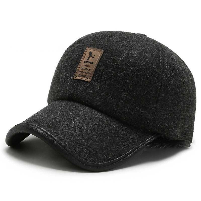 Dark-Hued Cotton Caps with Ear Muffs for Warming Your Ears