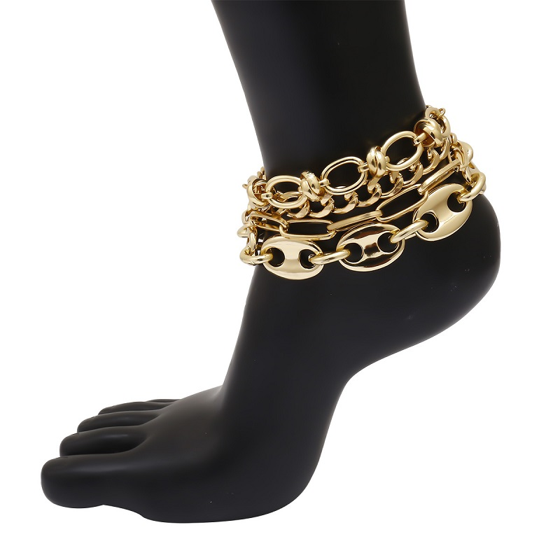 Funky Mixed Golden Anklet for Women