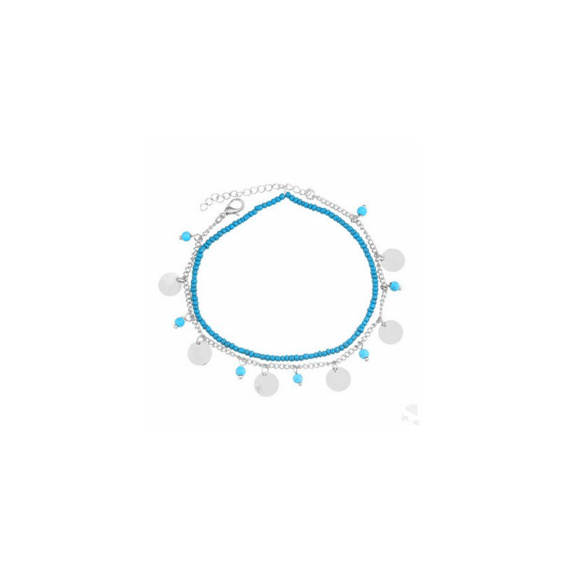Pleasing Metal and Blue Accent Anklet for Bohemian Outfits