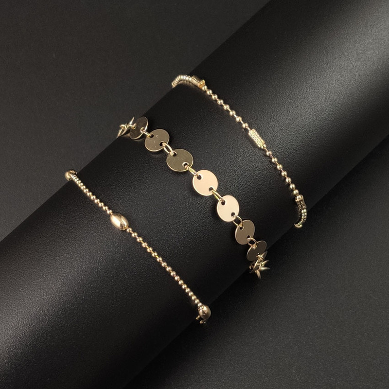Classic Three Layer Chain Anklet for Beach Outfits