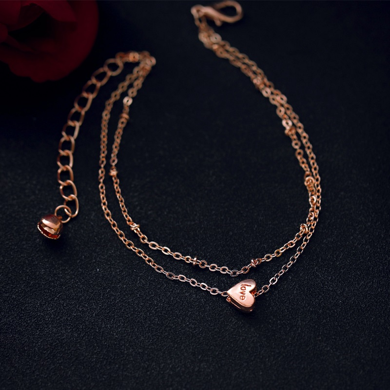 Simple Heart Layered Anklet for Matching Summer Dresses