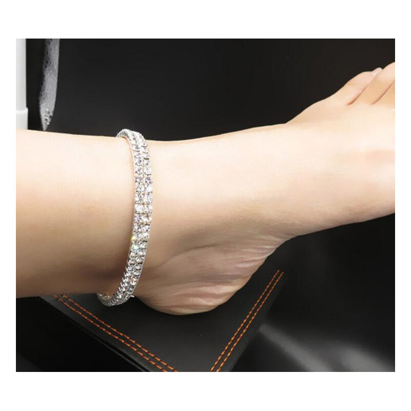 Two Layer Faux Rhinestone Studded Anklet for Formal Events