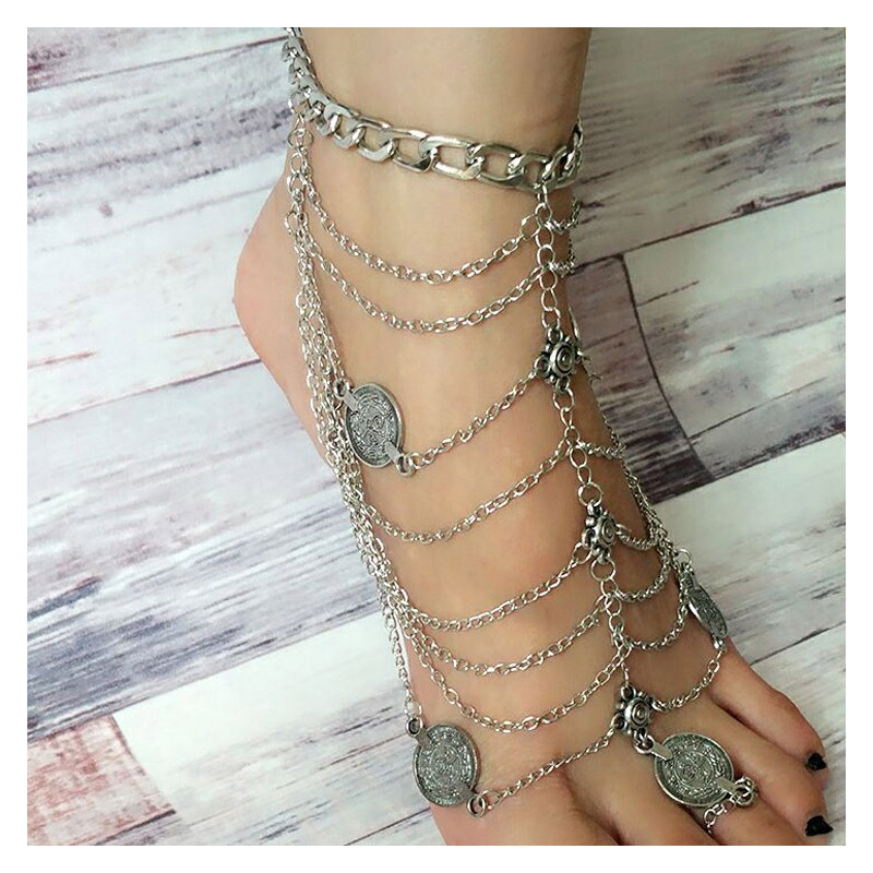 Multi-Chain with Coin Pendant Toe Ring Anklet for Dance Costume