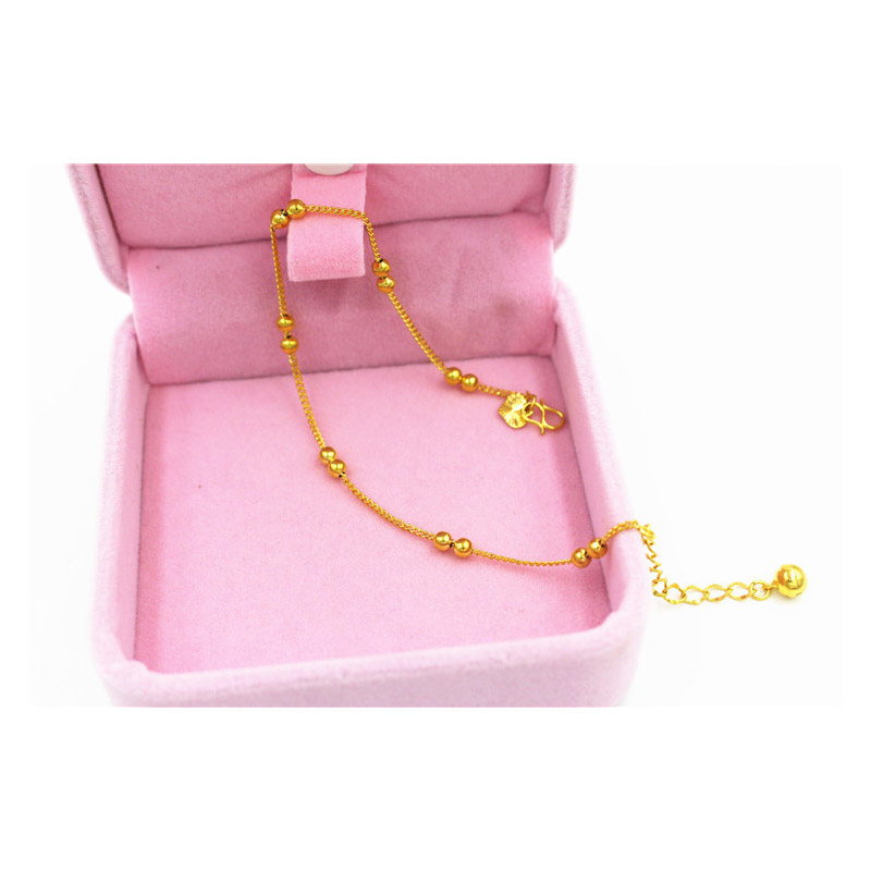 Gold-Plated Coins and Beads Anklet for Casual Wear
