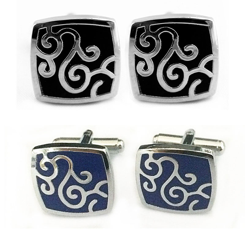 Decorative Silver Swirl Tile Cufflinks for Neat Cuffs