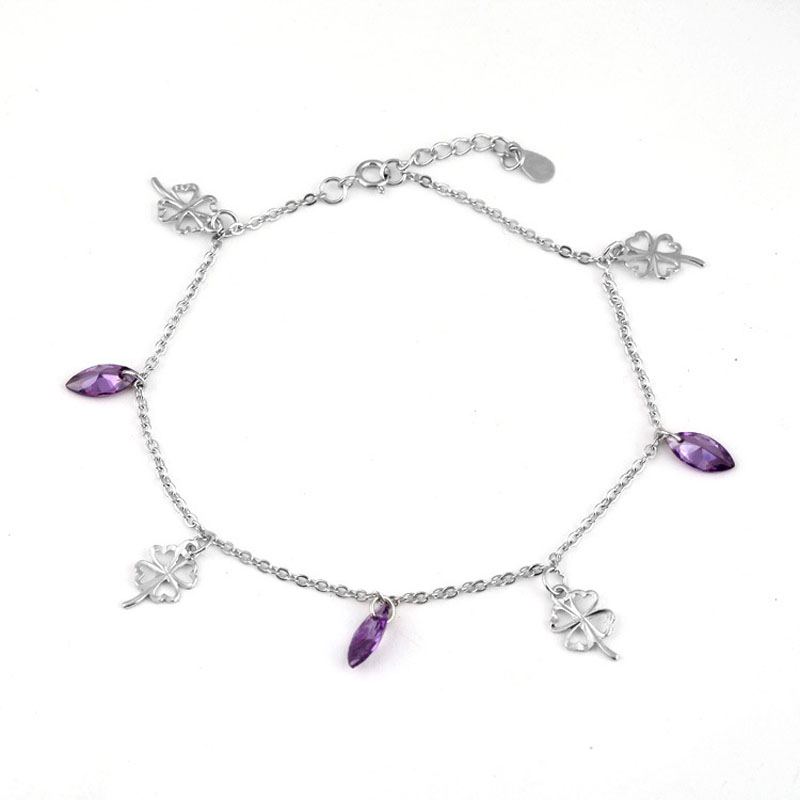 Majestic Purple Faux Crystal and Silver Clover Charm Anklet for Prosperous Days
