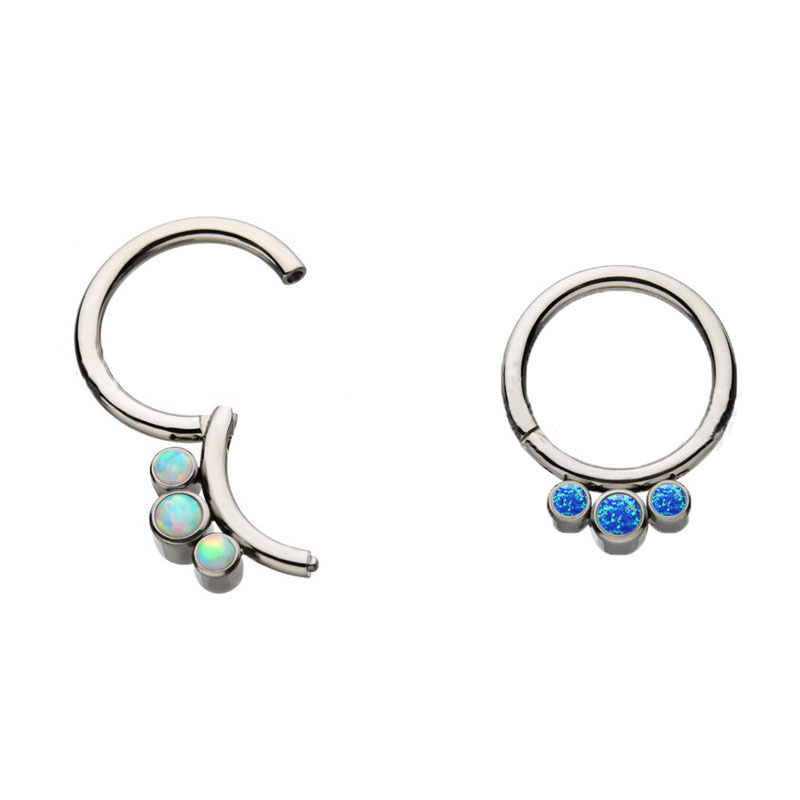 White and Blue Crystals Nose Ring for Punk Outfit