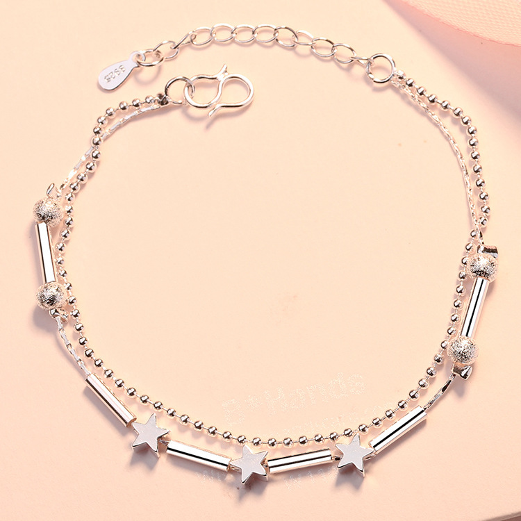 Two-Layer Chain Star Station Bracelet for Casual Wear