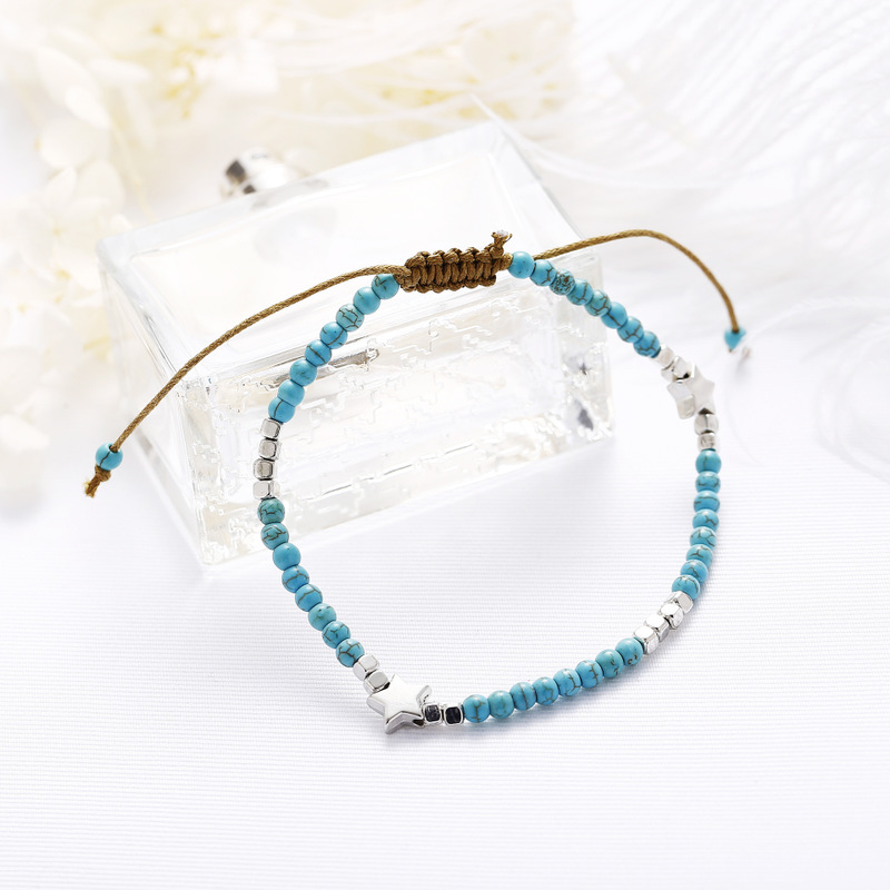 Simple Star and Turquoise-Inspired Bead Anklet for Boho Outfits