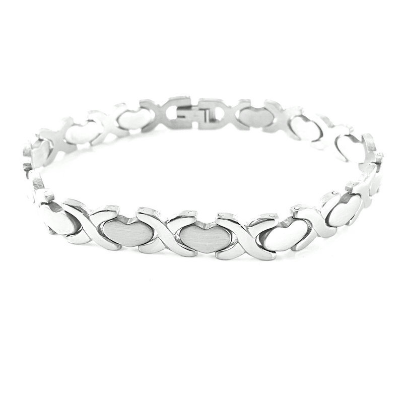 Retro Heart Link Chain Bracelet for Casual Wear