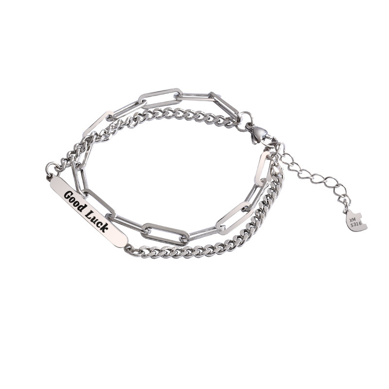 Two-Layer Good Luck Chain Bracelet for Casual Wear