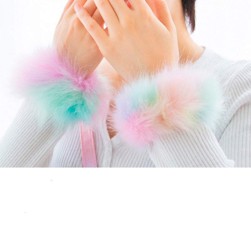 Colorful Plush Furry Bracelet for Casual Wear