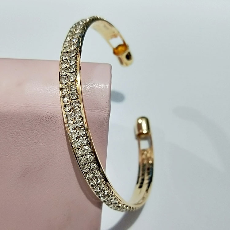 Two-Layer Faux Diamond Studded Cuff Bracelet for Formal Events