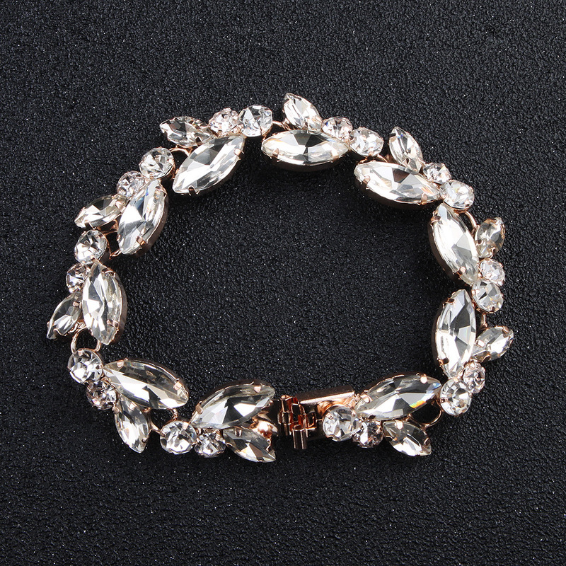 Opulent Faux Crystal Studded Leaf Bracelet for Weddings