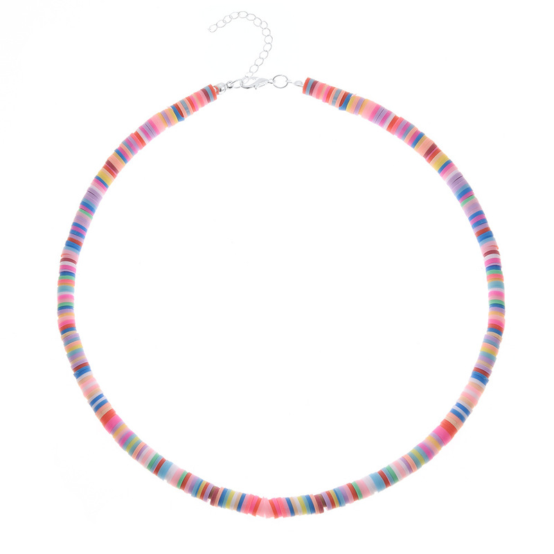 Colorful Clay Beaded Collar Necklace for Bohemian Style