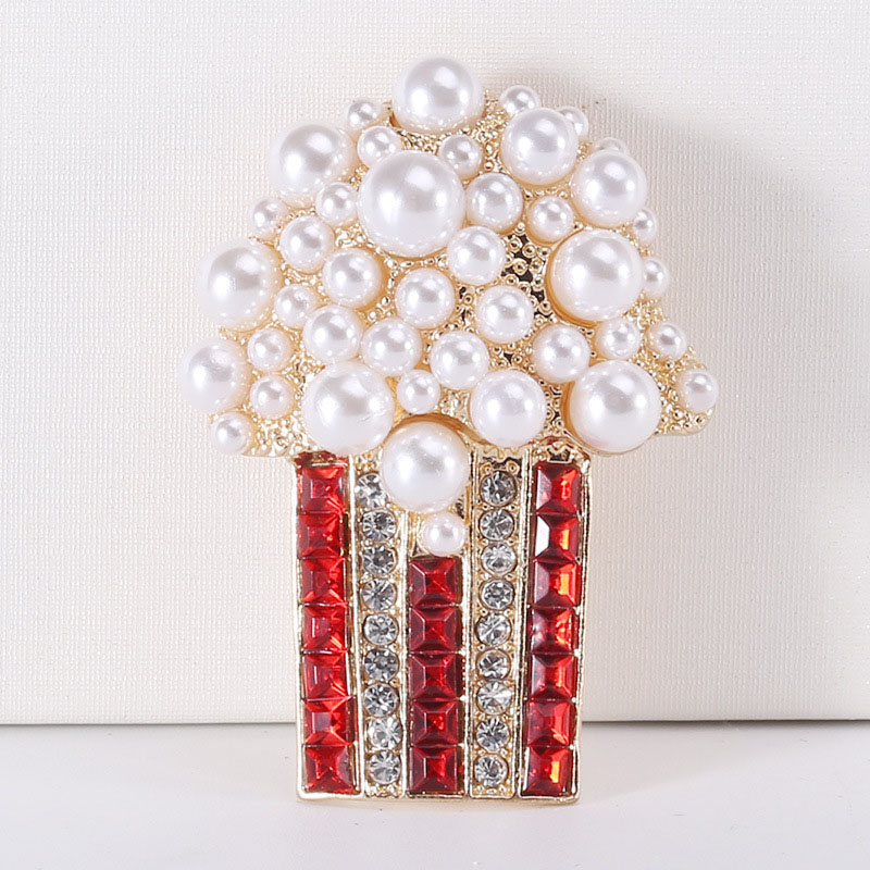 Fun Faux Pearl and Rhinestones Popcorn Brooch for Casual Wear