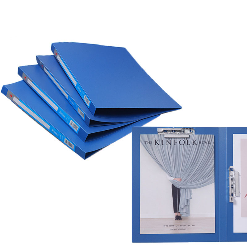 Plastic Blue Folder with Clipping Tool for Office Documents