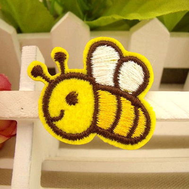 Embroidered Bee and House Patch for Girls