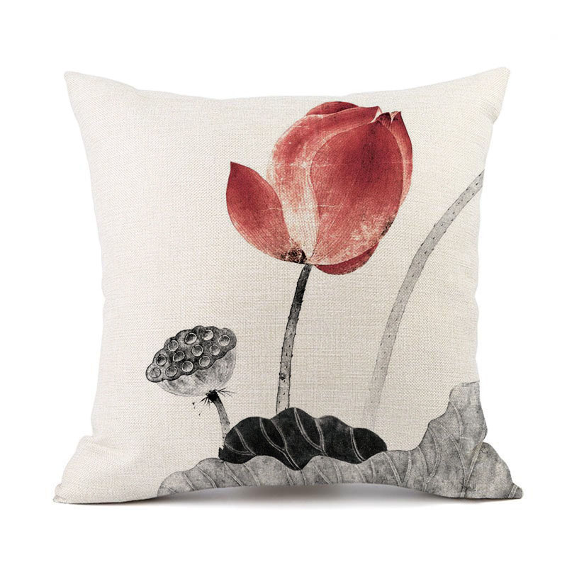 Modern Lotus Plant Throw Pillow for Warm Homes