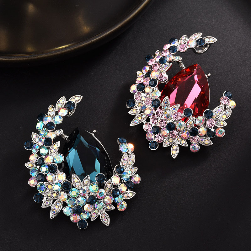 Exquisite Crescent Faux Crystal Brooch for Formal Wear
