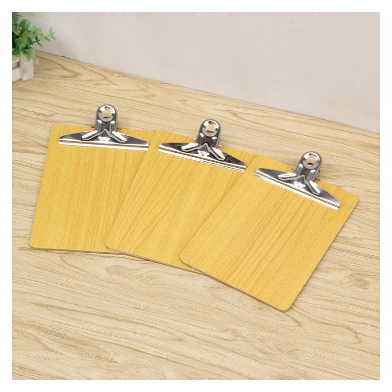Yellow-Tinted Wood Grain Clipboard for Signing Documents