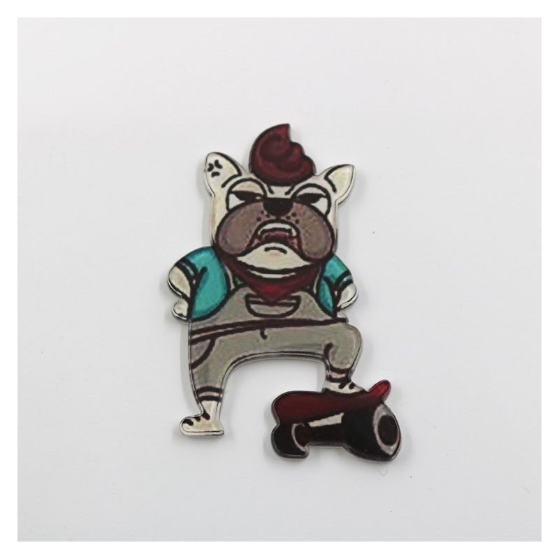 Adorable Acrylic Dog Brooch for Bags or Jackets