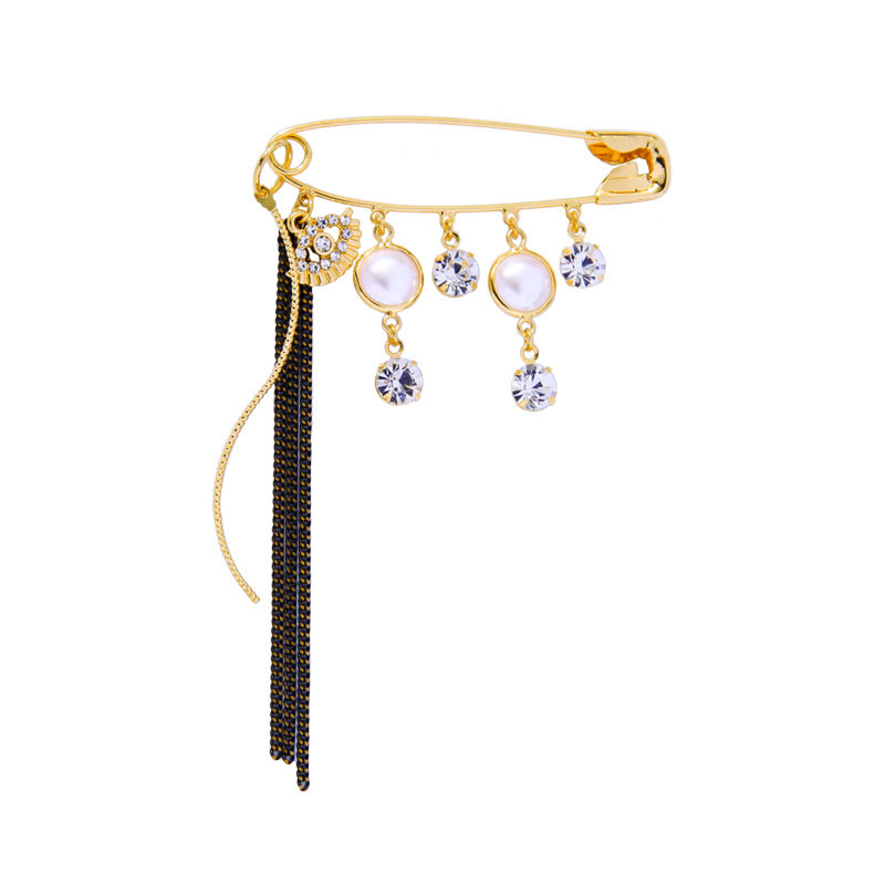 Classy Safety Pin Brooch with Faux Pearl for Suits and Coats