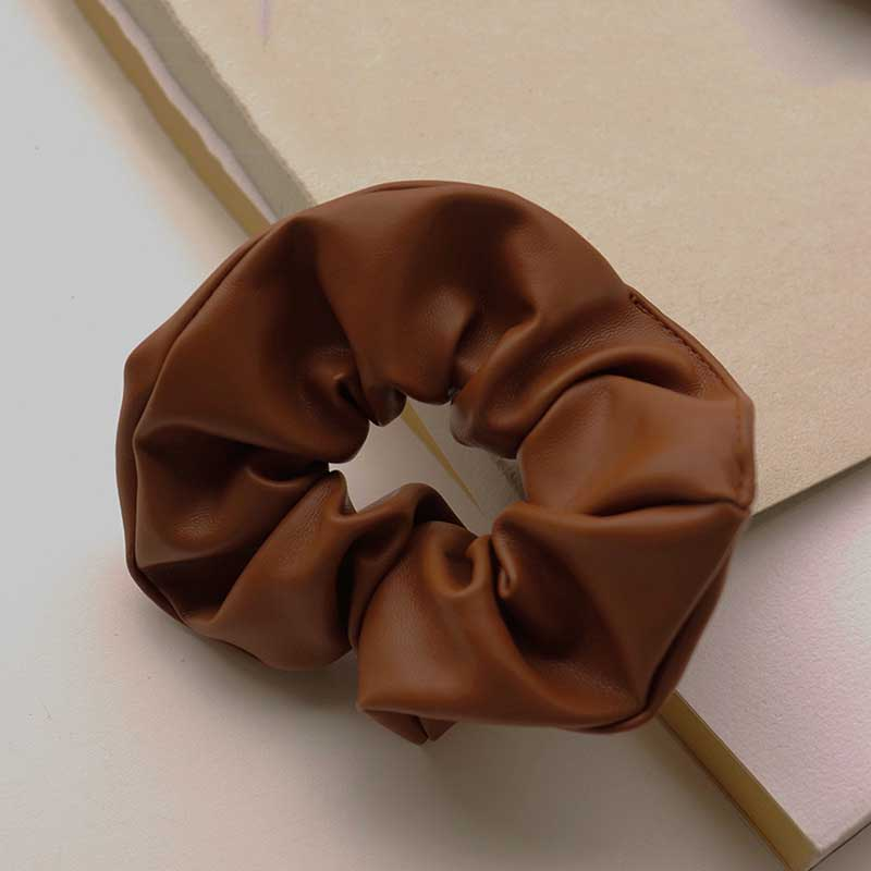 Coffee Color Faux Leather Scrunchies for Classic Hair Styling