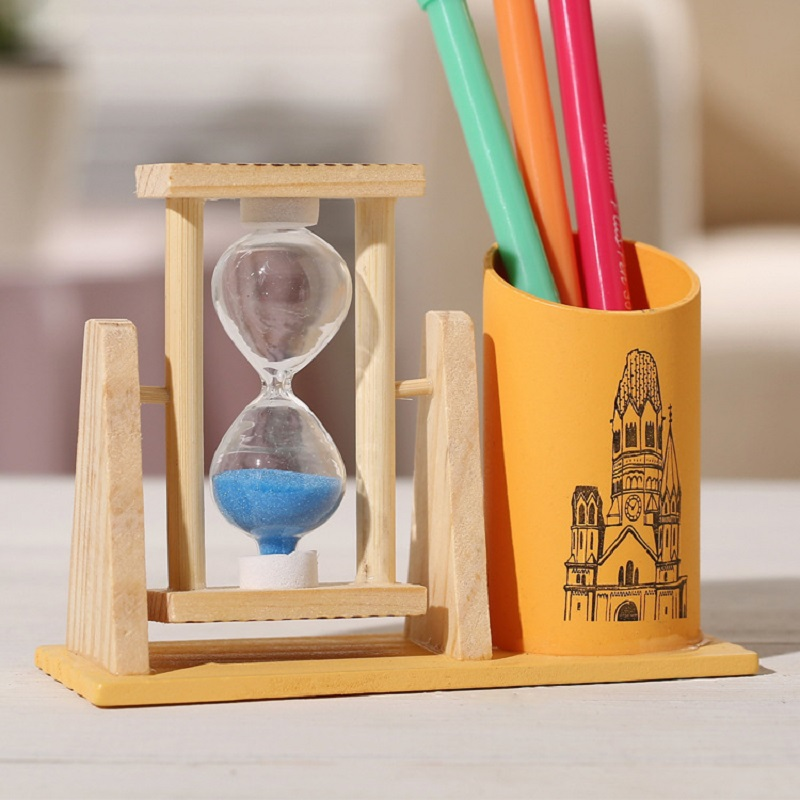 Dual Purpose Hourglass and Pen Holder for Desk Organizing