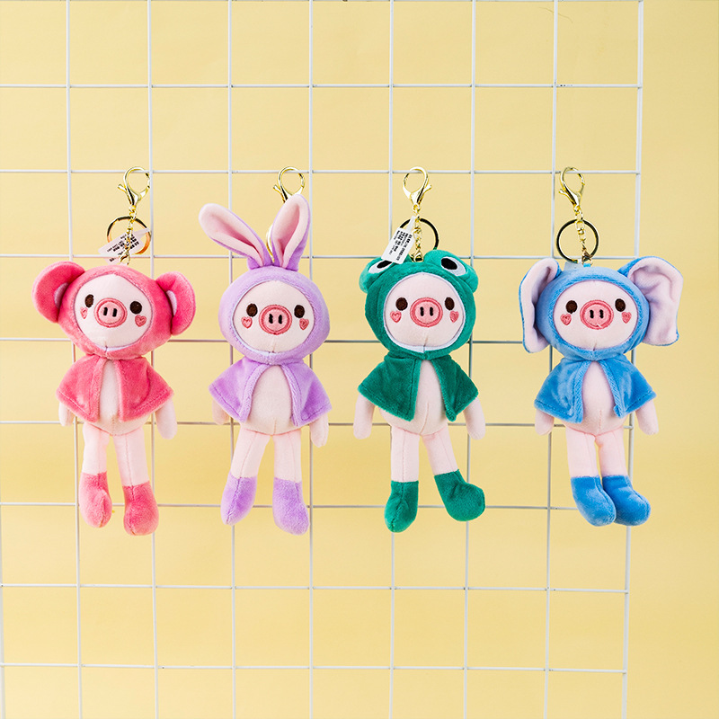 Adorable Plush Cartoon Keychain for Children's Backpack